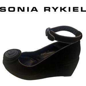 SONIA RYKIEL black suede ankle strap platform wedges with flower on toe